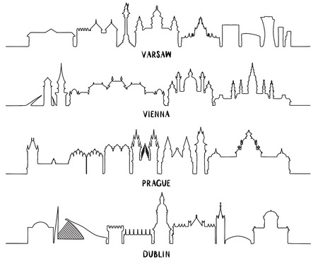 ireland cities: Line art, skyline with Historic Architecture, vector illustration. Warsaw, Vienna, Prague and Dublin