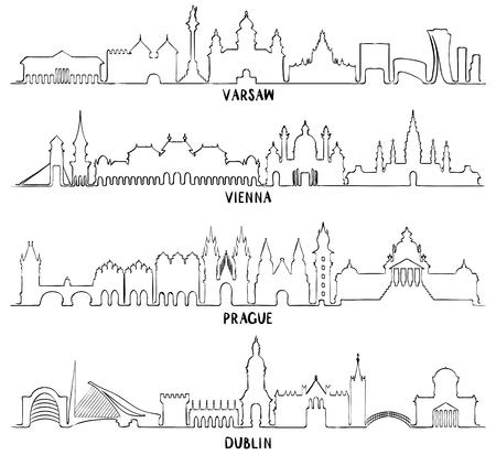 역사적인 건축, 라인 벡터 일러스트 레이 션과 스카이 라인. 바르샤바, 비엔나, 프라하, 더블린