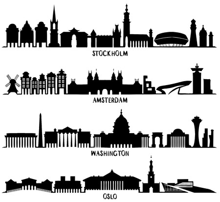Skyline with Historic Architecture, Silhouettes vector illustration. Stockholm, Amsterdam, Washington and Oslo