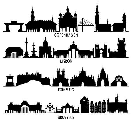 Kopenhagen, Lissabon, Edinburgh en Brussel Vector Illustratie