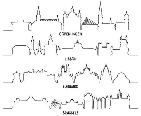Linie Kopenhagen, Lissabon, Edinburgh und Brüssel Vektorgrafik
