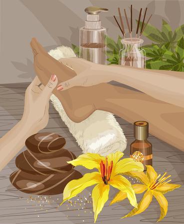 Spa, Foot massage. Hands doing foot massage.