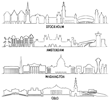 Skyline with Historic Architecture, line vector illustration. Stockholm, Amsterdam, Washington and Oslo