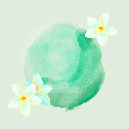 Watercolor background with Frangipani flowers