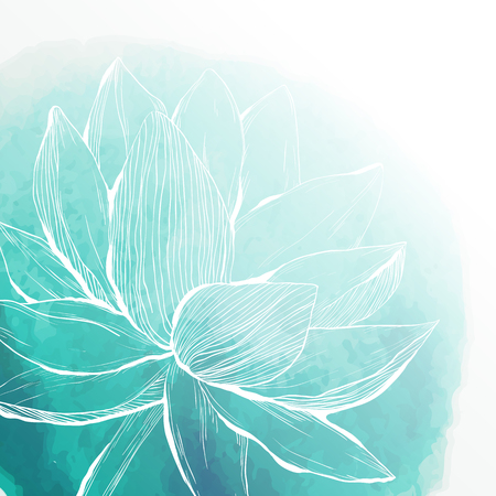 Watercolor background with lotus flower