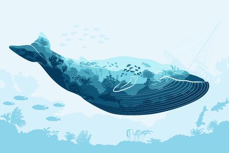 Dubbele blootstelling, walvis en zee onderwaterwereld