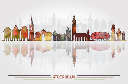 ストックホルム市のベクトルの背景  イラスト・ベクター素材