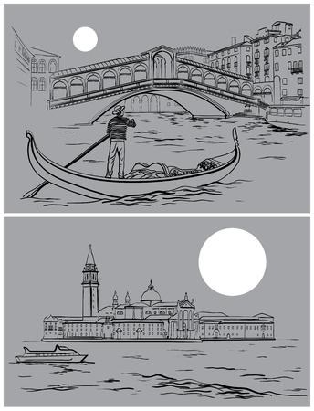 Vector illustration of hand drawn Rialto Bridge and San Giorgio di Maggiore church, Venice sketch, Italy