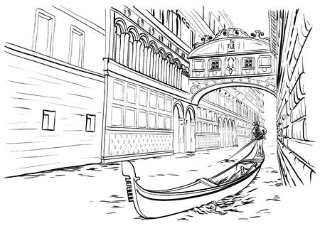 손의 벡터 일러스트 레이 션 한숨의 다리, 베니스 스케치, 이탈리아의 그려 스톡 콘텐츠 - 87859738