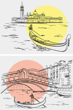 Vector illustration of hand drawn Gondoliers near Rialto Bridge, Lido island, Venice sketch, Italy