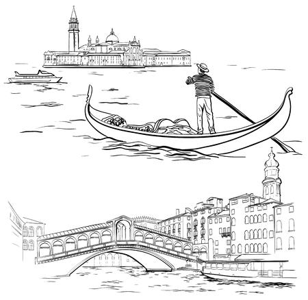 Vektorillustration von Hand gezeichnetem Gondoliere nahe Lido-Insel, Rialto-Brücke, Venedig-Skizze, Italien Vektorgrafik