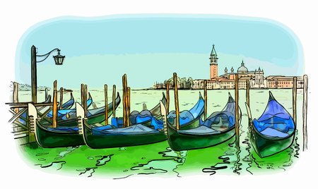 サン ・ ジョルジョ ・ ディ ・ マッジョーレ教会とイタリア、ベニス、リド島に手のベクトル イラストが描かれました。  イラスト・ベクター素材