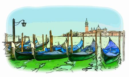 Vector illustration of hand drawn San Giorgio di Maggiore church and Lido island, Venice, Italy