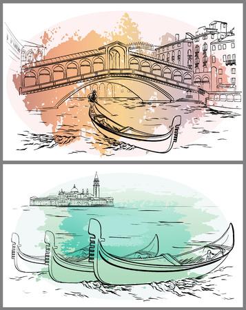 Gondoleiros perto de Rialto, Lido, aquarela de Veneza