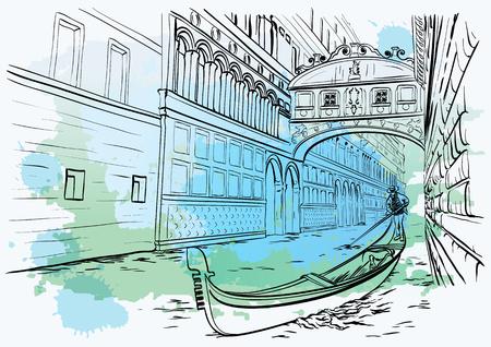 Bridge of Sighs, Venice, watercolor design