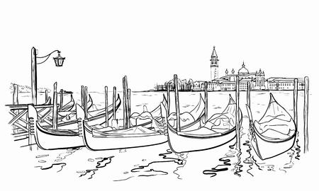 Vector illustration of hand drawn San Giorgio Maggiore church and Lido island. Vettoriali