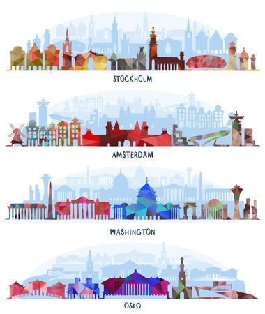 Historic Architecture, Travel skylines, vector illustration. Stockholm, Amsterdam Washington and Oslo Illustration