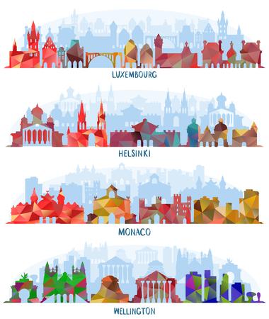 Stadsgezichten van Luxemburg, Helsinki, Monaco en Wellington, Skyline met historische architectuur Vector Illustratie