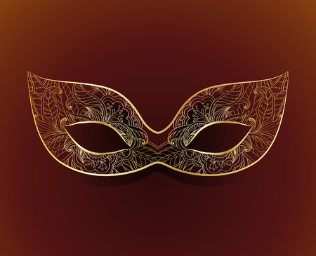 Venetian carnival mask with floral pattern Illustration