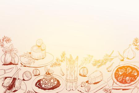 hand drawn background with Mediterranean food Ilustração