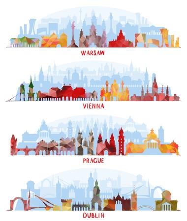 바르샤바, 비엔나, 프라하, 더블린의 Cityscapes 일러스트