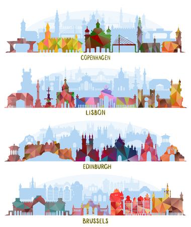 Stadsgezichten Kopenhagen, Lissabon, Edinburgh, Brussel Stock Illustratie