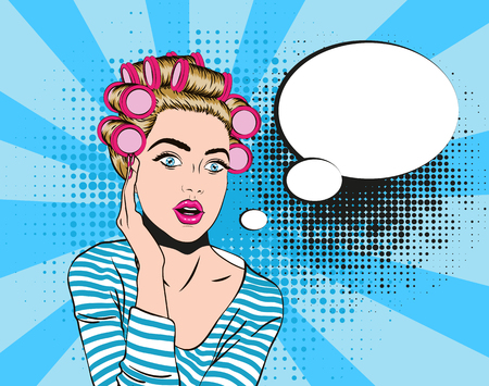 Woman in shocked emotion, pop art style Vectores