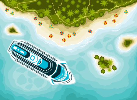 Tropical islands top view and cruise ship Illustration