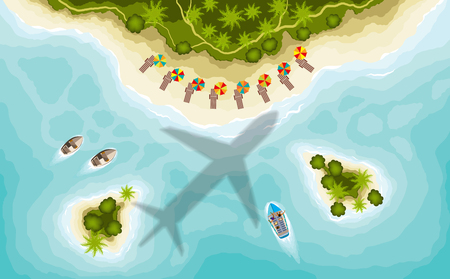 Airplane over tropical islands, top view. Illustration