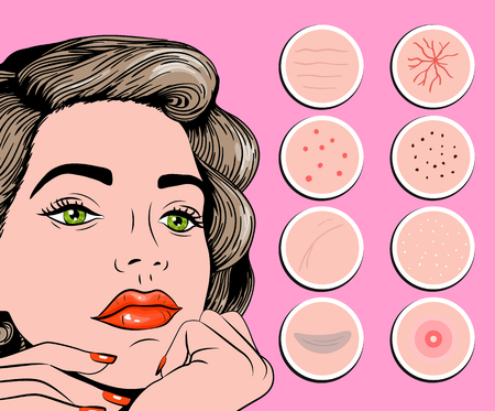 Facial problem of acne, pimples, and wrinkles vector illustration