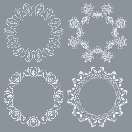 Decorative round frame and label set, Vector template Stock Photo