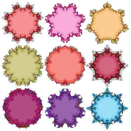 Set of floral round frames Illustration