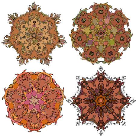Set of round mandala ornament