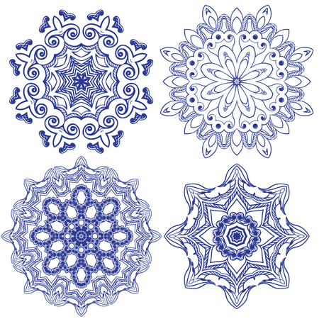 Set of floral round crocheting elements Illustration
