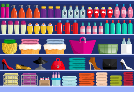 Store shelves with assortment of goods Vettoriali