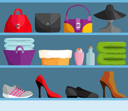 Shelves with female accessories Illustration