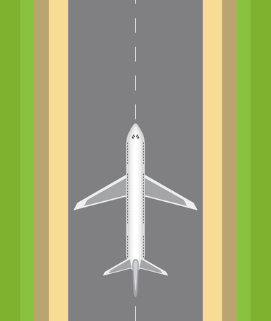Airplane on the runway in a top view