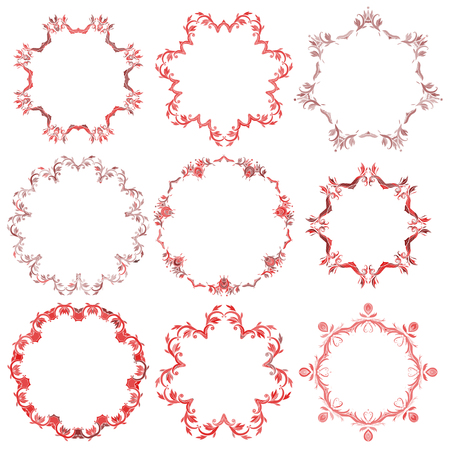 Different designs of decorative Christmas red round frame set