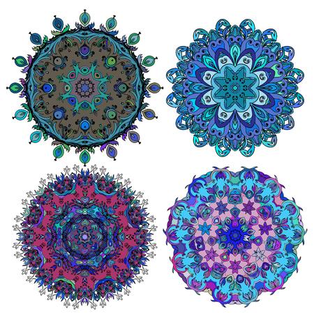 Set of round ethnic ornament Stock Photo