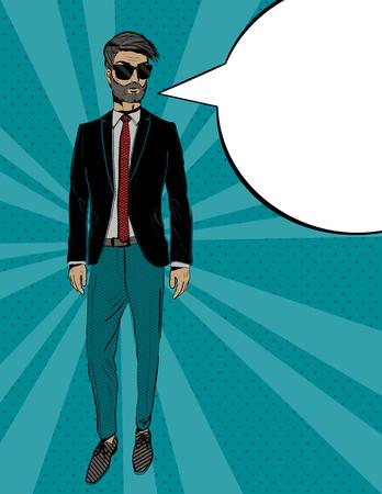 Young fashion man in suit, Pop art portrait