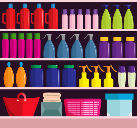 Supermarket shelves with assortment of products