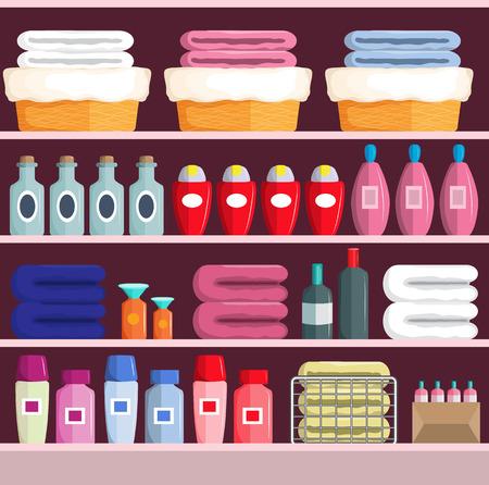 Various goods on supermarket shelves, vector illustration