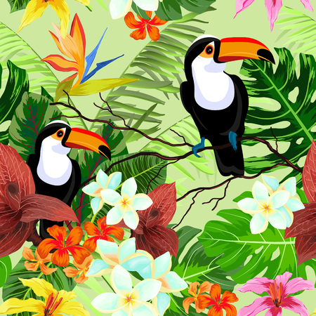 Seamless pattern with tropical flowers and birds Фото со стока - 90583205