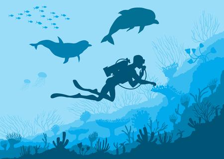 Underwater wildlife, diver, dolphins Illustration