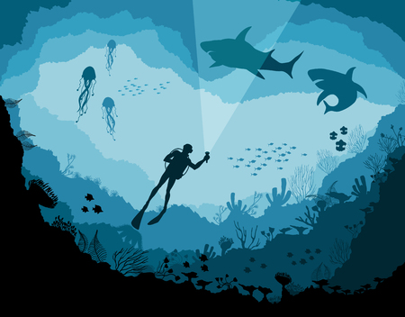 Divers and sharks, reef Underwater wildlife Illustration
