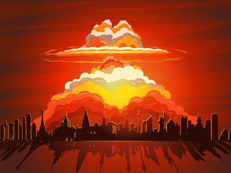 Nuclear explosion, atom bomb falling on Earth Illustration
