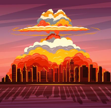 Nucleaire explosie, atoombom die op grote stad valt Stock Illustratie
