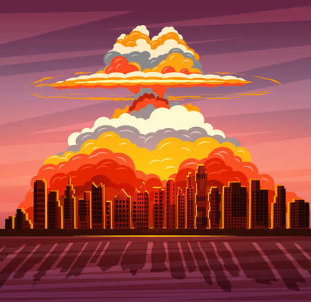 Nuclear explosion, atom bomb falling on big city Illustration