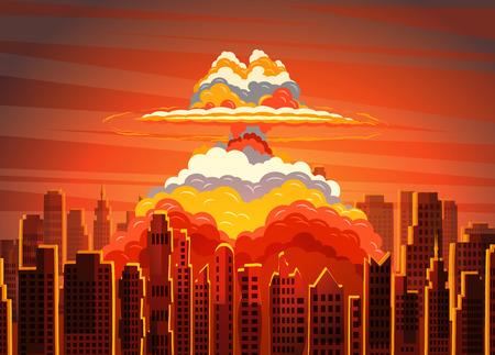 Rising radioactive bright mushroom cloud on city