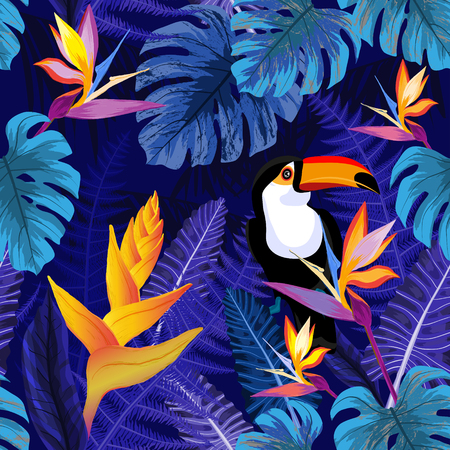 Seamless blue pattern with tropical flowers and toucan bird. Vector illustration. Vettoriali